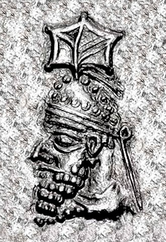 Papak - Papak, father of Shapur and Ardashir, wearing a Parthian-style tiara with leaf ornament.