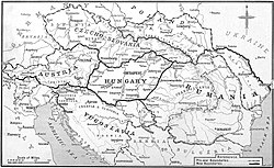 Partition of Austria-Hungary: boundaries as defined in the treaties, 1919