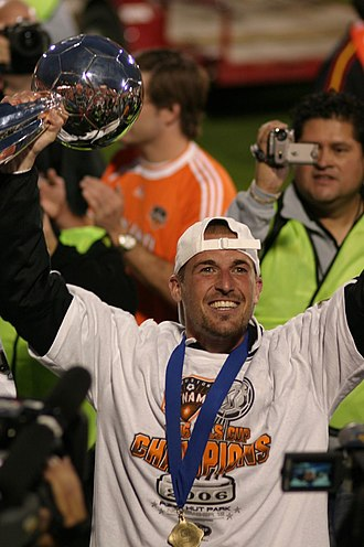 MLS Cup 2006 - Paul Dalglish, who scored two goals in the Western Conference Final, holding the MLS Cup trophy