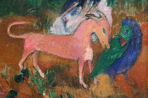 Marquesan Dog - Paul Gauguin's 1902 probable depiction of the Marquesan swamphen being killed by a dog.