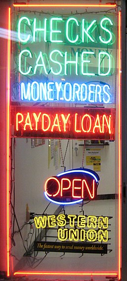 Payday loan shop window