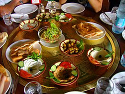 A large plate of Jordanian mezze in Petra, Jordan.