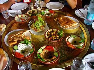 Meze - A large plate of Jordanian mezze in Petra, Jordan.