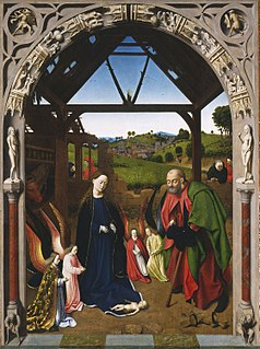 Oil on wood panel painting by Petrus Christus