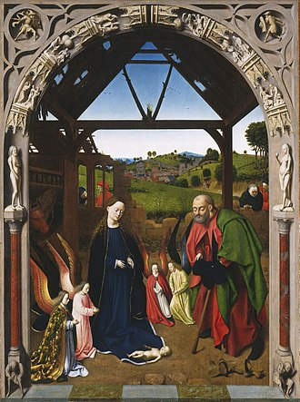 Nativity (Christus) - Nativity,  c. mid-1450s. Oil on wood, 127.6 cm × 94.9 cm  (50.2 in × 37.4 in), National Gallery of Art, Washington, D.C.