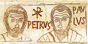 Incident at Antioch - Peter and Paul, depicted in a 4th century etching with their names in Latin and the Chi-Rho