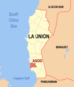 Map of La Union showing the location of Agoo