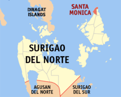 Map of Surigao del Norte with Sta. Monica highlighted