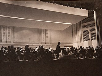 Black conductors - Benjamin Steinberg conducting the premiere concert of the US's first racially integrated orchestra, the Symphony of the New World at Carnegie Hall on May 6, 1965.