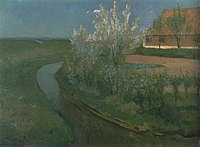 Piet Mondriaan - Curved irrigation ditch bordering farmyard with flowering trees - A283 - Piet Mondrian, catalogue raisonné.jpg