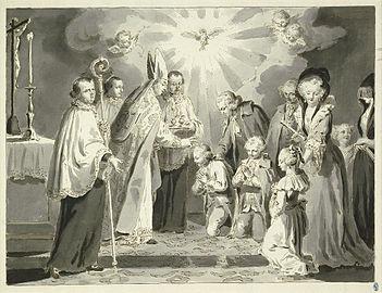 LES HEURES DE LA JOURNÉE CHRÉTIENNE, Où sont enseignées LES VOIES DU SALUT - France - année 1690 351px-Pietro_Antonio_Novelli_Sakramente_Firmung