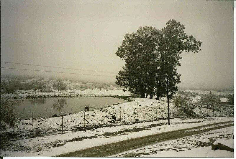 שלג על בריכת האגירה