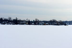 West Bloomfield Township, Michigan - Houses along Pine Lake in the winter