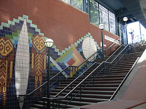 Pioneer Square station - Laura Sindell's ceramic mural, located in the south mezzanine entrance