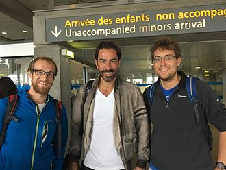 Robert Pirès - Pires (middle) meeting fans in France  - July 2016