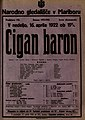 Plakat za predstavo Cigan baron v Narodnem gledališču v Mariboru 16. aprila 1922.jpg