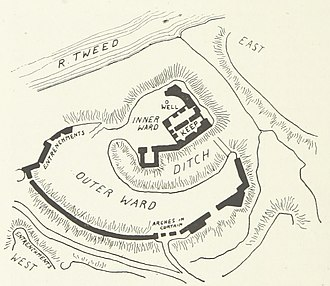Norham Castle - A plan of the castle from J. D. Mackenzie's The Castles of England: their story and structure