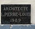 Plaque d'architecte L.Pierre-Louis (1989) à Bruxelles.jpg