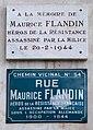 Plaque en hommage à Maurice Flandin et plaque de la rue Maurice Flandin, à Lyon France.jpg