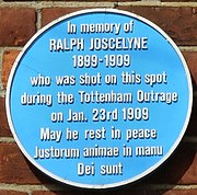 Plaque from the spot where Ralph Joscelyne was murdered.