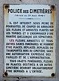 Plaque police des cimetières au cimetière nouveau de Villeurbanne (mai 2020).jpg