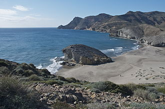 Cabo de Gata-Níjar Natural Park - Volcanic rock-formations at Playa de Mónsul, possibly the most popular beach