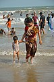 Playful Mother and Child with Sea Waves - New Digha Beach - East Midnapore 2015-05-01 8727.JPG