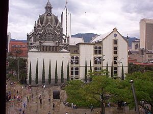 Coltejer Building - A view of Botero Plaza and the Coltejer building in the background from the Museum of Antioquia
