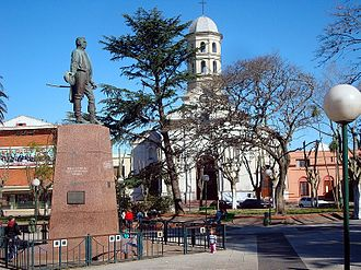 Pando, Uruguay - The central square of Pando with the Church of the Immaculate Conception in the background