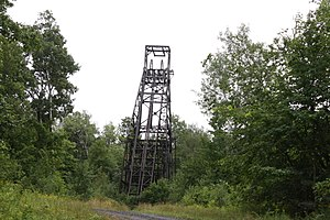 National Register of Historic Places listings in Iron County, Wisconsin - Image: Plummer Mine Headframe Iron County Wisconsin