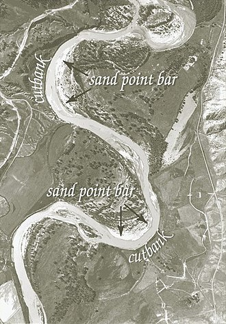 Cut bank - Cut bank erosion and point bar deposition as seen on the Powder River in Montana.