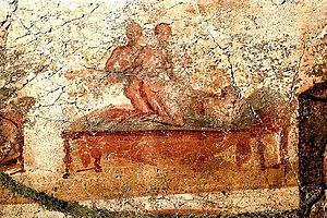 Fresco erótico de Pompeya from the Thermae