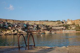 Popeye Village - Popeye Village from pier in Anchor Bay