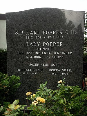 Grave of Sir Karl Raimund Popper in Vienna 13 ...