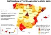 Distribution of the Spanish population (2005)