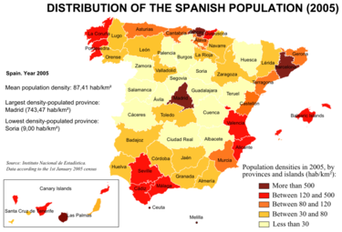Geographical distribution of the Spanish population in 2005