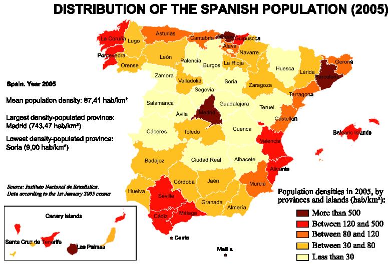 Population densities in Spain (2005)