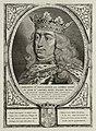 Portret van Filips de Schone, hertog van Bourgondië, met een kroon, een koningsmantel en om zijn hals een keten met het ordeteken van de orde van het gulden vlies. De omlijsting is versierd , NL-HlmNHA 1477 53012927.JPG