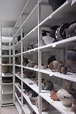 Pottery collection in the vault of De Tempel, Prins Hendrikstraat 39, Den Haag.