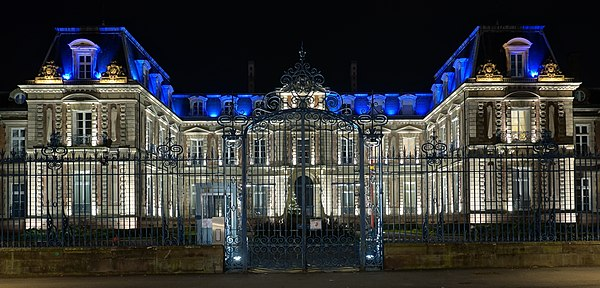 Préfecture building of Haut-Rhin, France, by night