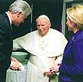 President Bill Clinton meeting with Pope John Paul II.jpg