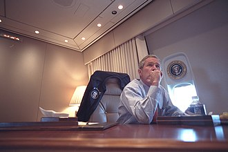 President George W. Bush aboard Air Force One during the flight from Barksdale Air Force Base in Louisiana to Offut Air Force Base near Omaha, Nebraska on September 11, 2001 President George W. Bush aboard Air Force One during the flight from Barksdale Air Force Base to Offut Air Force Base.jpg