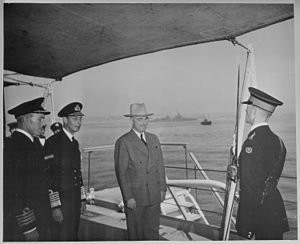 HMS Renown (1916) - President Harry S. Truman and King George VI on the quarterdeck of HMS Renown where the President had lunch with the King. President Truman is preparing to leave England on the USS ''Augusta'' after attending the Potsdam Conference in Germany. The Augusta can be seen in the background. (National Archives and Records Administration)