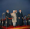 President John F. Kennedy and Prime Minister of India Jawaharlal Nehru at Arrival Ceremonies.jpg