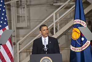 Space policy of the Barack Obama administration - President Obama speaks at KSC's Operations and Checkout Building.