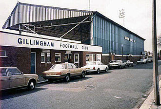 Priestfield Stadium - The exterior of the Main Stand in the mid-1980s