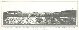 Priestfield Stadium - A view of the ground in 1908, taken from the Rainham end of the ground