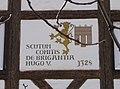 Propstei Oberstaufen von O, Inschrift im Giebel, Wappen des Bregenzer Grafen Hugo V.jpg