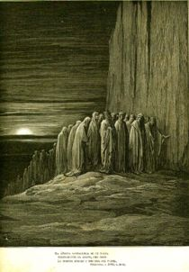 Illustration for Dante's Purgatorio (18), by Gustave Doré, an imaginative picturing of Purgatory.