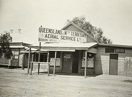 The original QANTAS office, Longreach, Queensland, ca.1921. Qantas First Office Longreach Queensland 1921slnsw a1178007u.jpg